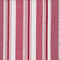 *1 1/4 YD PC--Cherry Red/White Stripe Shirting