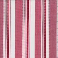 *2 YD PC--Cherry Red/White Stripe Shirting