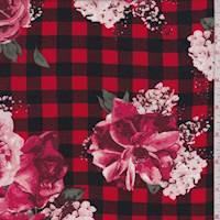 *2 1/2 YD PC--Red/Black Check Floral Rayon Challis