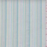 *3 YD PC--White/Aqua/Lime Embroidered Stripe Cotton