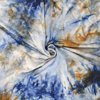 *3 YD PC--Tobacco/Indigo/White Tie Dye Rayon Jersey Knit