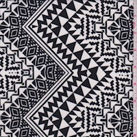 *1 YD PC--Black/White Deco Zig Zag Nylon Knit