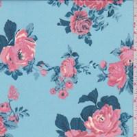 *1 YD PC--Powder Blue/Pink Rose ITY Knit