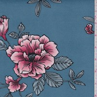 *2 1/2 YD PC--Colonial Blue Sketch Floral Double Brushed Jersey Knit