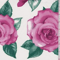 *3 YD PC--White/Pink Rose Double Brushed Jersey Knit