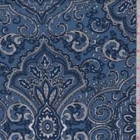 *1 1/4 YD PC--Cadet Blue/Diamond Scroll ITY Jersey Knit