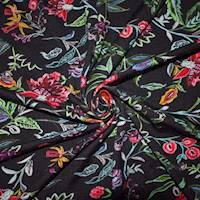*2 1/4 YD PC--Hot Pink/Green/Black/Multi Floral Printed Rayon Jersey Knit