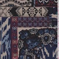 *1 7/8 YD PC--Black Multi Patchwork Jersey Knit