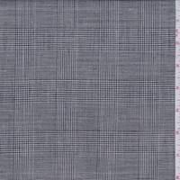*1 1/8 YD PC--Black Glenplaid Linen Blend Suiting