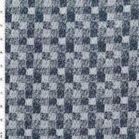 3 5/8 YD PC--Dark Navy Blue/White Texture Checkered Jacquard Jacketing