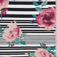 *4 3/4 YD PC--White/Black Stripe Floral Double Brushed Jersey Knit