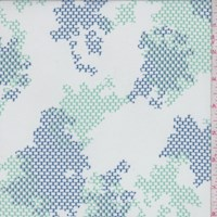 *3 1/4 YD PC--White/Seafoam/Navy Grid Camo Silk Chiffon