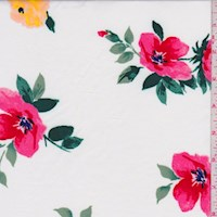 *2 1/2 YD PC--White/Pink Floral Bloom Nylon Knit