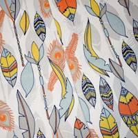 *24 YD PC--Orange/Gray/Multi Feather Printed Canvas Decorating Fabric