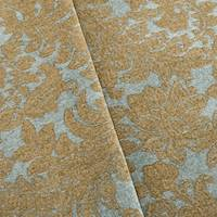 *10 YD PC--Brown/Teal Leaf Baroque Chenille Home Decorating Fabric