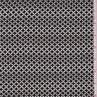 *4 3/4 YD PC--Black/White Diamond Lattice Rayon Crepe