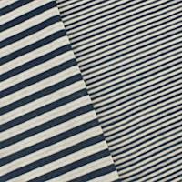 *2 YD PC--Navy Blue/Off White Stripe Double Knit