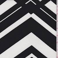 *3 YD PC--White/Black Abstract Chevron Liverpool Knit