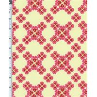 *5 3/4 YD PC--Yellow/Pink Nel Whatmore Secret Garden Cross Your Heart Print Cotton