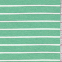 Heather Green Stripe Double Brushed French Terry Knit