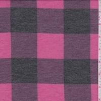 Fuchsia/Black Buffalo Plaid Double Brushed French Terry Knit