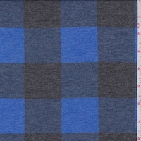 Cobalt/Black Buffalo Plaid Double Brushed French Terry Knit
