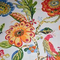 *6 YD PC -- Pink/Multi Bird Floral Printed Basketweave Decor Fabric