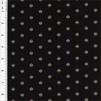 *1 7/8 YD PC -- Designer Cotton Black Foulard Print Home Decorating Fabric