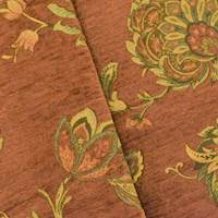 *1 7/8 YD PC -- Rose Brown Floral Chenille Jacquard Home Decor Fabric