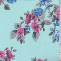 Mint Blue Floral Sprig Double Brushed French Terry Knit