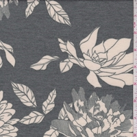 Pewter Green/Cream Floral Double Brushed French Terry Knit