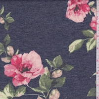 Heather Navy/Blush Rose Double Brushed French Terry Knit