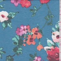 Teal/Red/Orchid Floral Double Brushed French Terry Knit