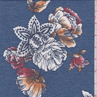 Ink/Brick Stylized Floral Double Brushed French Terry Knit