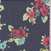 Dark Navy/Coral Floral Double Brushed French Terry Knit