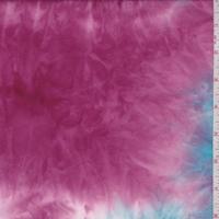 Aqua/Fuchsia Tie Dye Double Brushed Jersey Knit