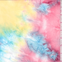 Salmon/Yellow/Turquoise Tie Dye Double Brushed Jersey Knit