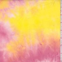 Deep Fuchsia/Orange/Lemon Tie Dye Double Brushed Jersey Knit