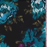 *4 3/8 YD PC--Black/Teal Mottled Floral Sateen