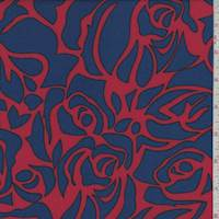 *1 3/4 YD PC--Red/Royal Rose Floral Rayon Challis