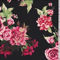 *5 7/8 YD PC--Black/Pink Floral Poplin