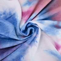 *4 YD PC--Salmon/Blue/Lavender Tie Dye French Terry Knit