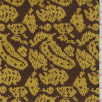 *1 1/8 YD PC--Yellow/Brown Paisley Jacquard Double Sweater Knit