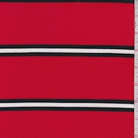 Cherry/Black Stripe Double Brushed French Terry Knit