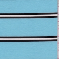 Powder Blue/Black Stripe Double Brushed French Terry Knit