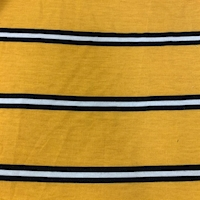 Yellow Gold/Black Stripe Double Brushed French Terry Knit