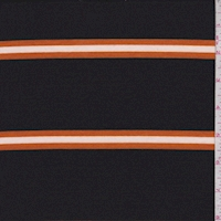 Black/Pumpkin Stripe Double Brushed French Terry Knit