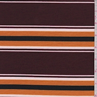Maroon/Pumpkin Stripe Double Brushed French Terry Knit