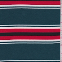 Spruce/Red Stripe Double Brushed French Terry Knit
