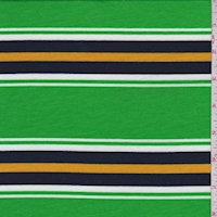 Lime/Navy Stripe Double Brushed French Terry Knit